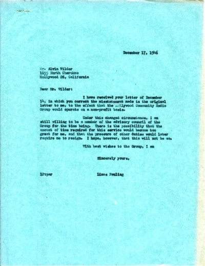 Letter from Linus Pauling to Alvin Wilder. Page 1. December 17, 1946