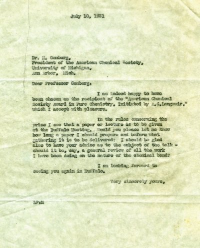 Letter from Linus Pauling to Moses Gomberg.Page 1. July 10, 1931