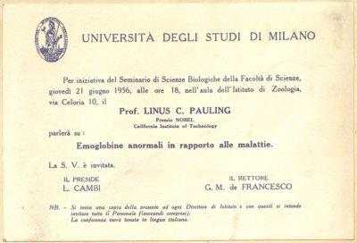 Invitation: Seminario di Scienze Biologiche della Facoltà di Scienze, Università degli Studi di Milano.Page 1. June 21, 1956