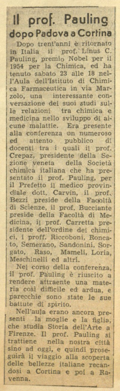 """Il prof. Pauling dopo Padova a Cortina.""Page 1. June 25, 1956"