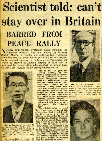"""""""Scientist Told: Can't Stay Over in Britain.""""Page 1. September 11, 1958"""