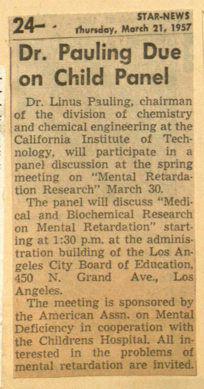 """Dr. Pauling Due on Child Panel."" Page 1. March 21, 1957"