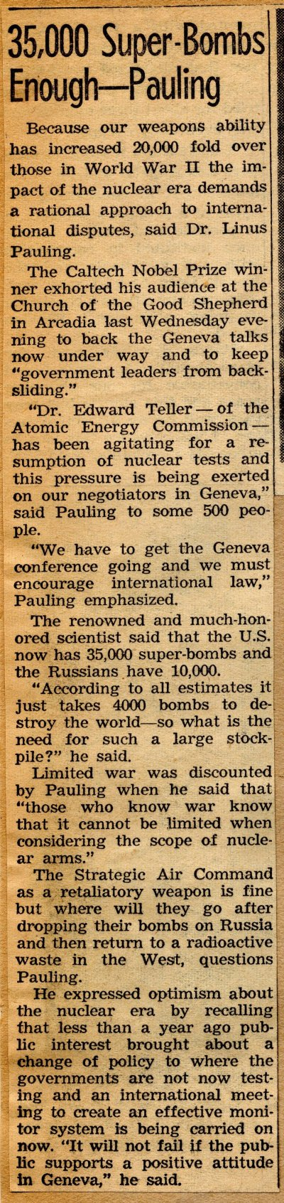 """35,000 Super-Bombs Enough -- Pauling."" Page 1. February 4, 1959"