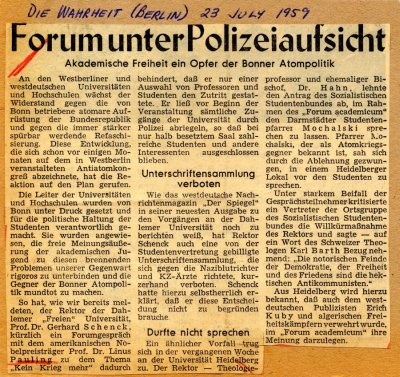 """Forumunter Polizeiautsicht."" Page 1. July 23, 1959"