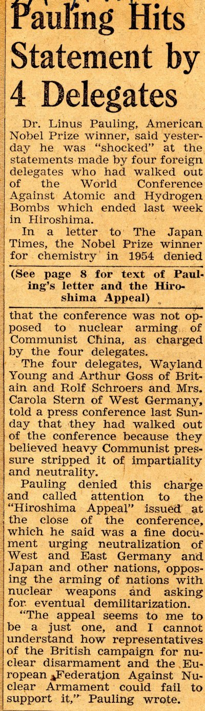 """Pauling Hits Statement by 4 Delegates."" Page 1. August 14, 1959"