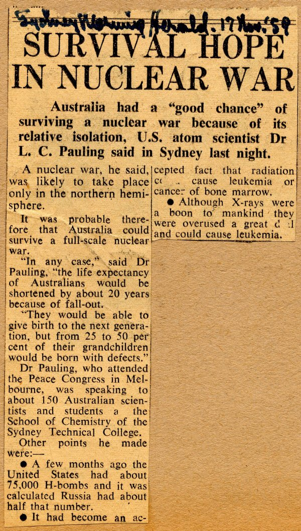 """Survival Hope in Nuclear War."" Page 1. November 17, 1959"