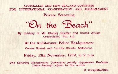 "Invitation: Private screening of ""On the Beach."" Page 1. November 13, 1959"