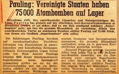"""""""Pauling: Vereinigte Staaen Haben 75,000 Atombomben auf Lager.""""Page 1. August 6, 1959"""