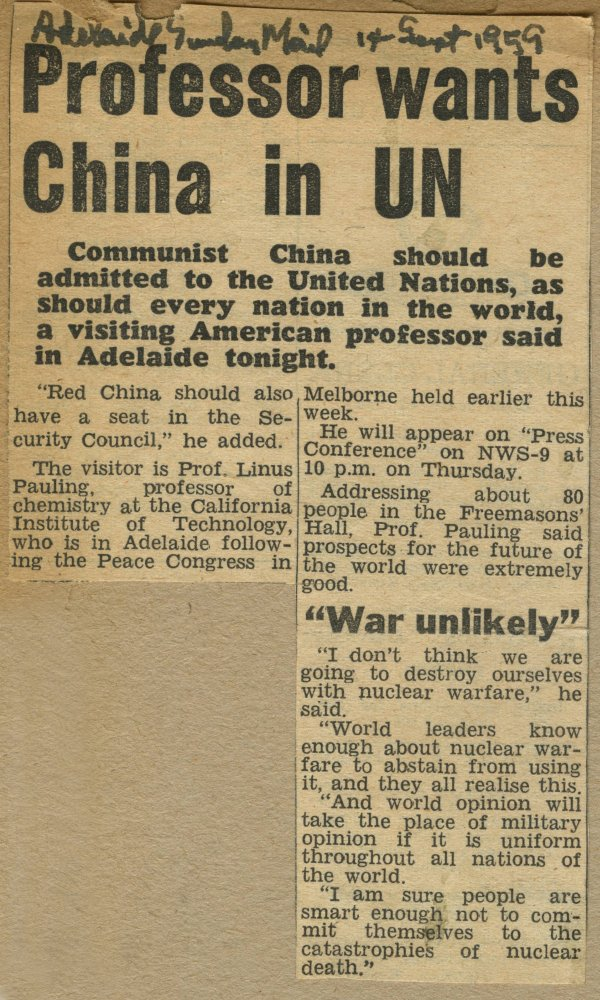 """Professor wants China in UN."" Page 1. September 14, 1959"
