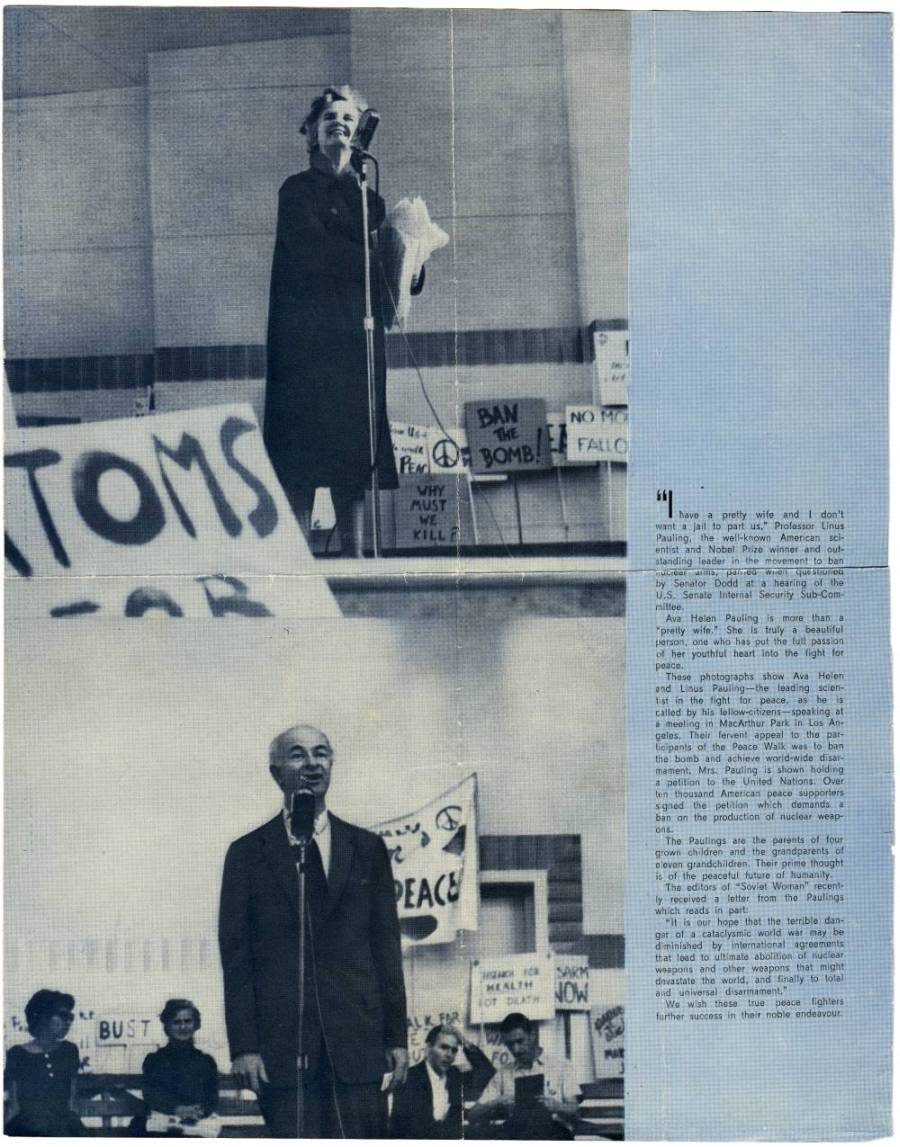 Ava Helen and Linus Pauling speaking at a peace rally.