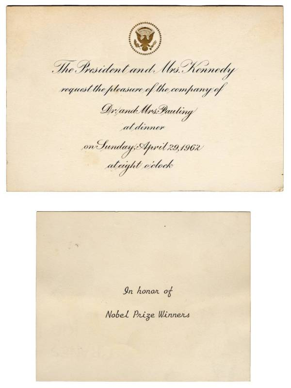 Invitation to a White House dinner held in honor of U.S. Nobel Prize Winners.