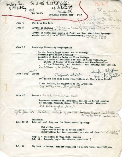 Itinerary for Linus Pauling's travels through Europe. Page 1. June - July 1947