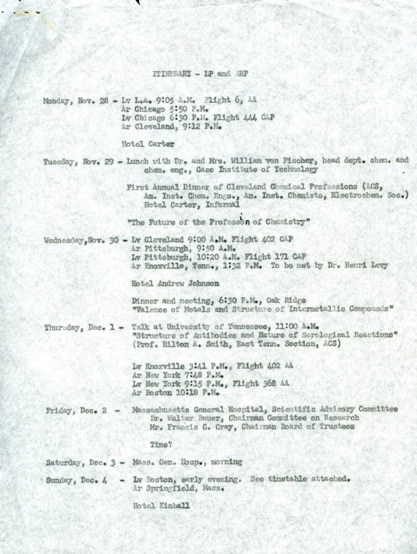 Itinerary for Linus Pauling's travels through New York, Washington, D.C. and Chicago. Page 1. November - December 1949