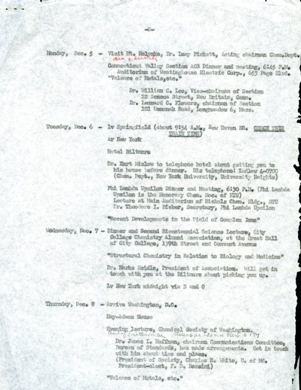 Itinerary for Linus Pauling's travels through New York, Washington, D.C. and Chicago. Page 2. November - December 1949