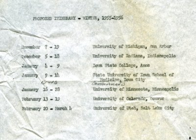 Itinerary for Linus Pauling's travels through the midwestern United States. Page 1. November 1955 - March 1956