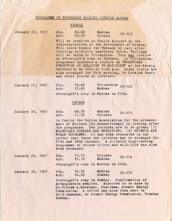 "Itinerary: ""Programme of Professor Pauling Outside Madaras."" Page 1. January 22, 1967"