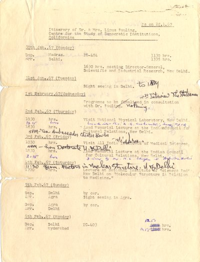 """Itinerary of Dr. & Mrs. Linus Pauling."" Page 1. January 30, 1967"