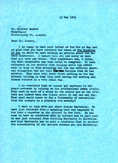 Letter from Ava Helen Pauling to Günther Anders.Page 1. May 13, 1963