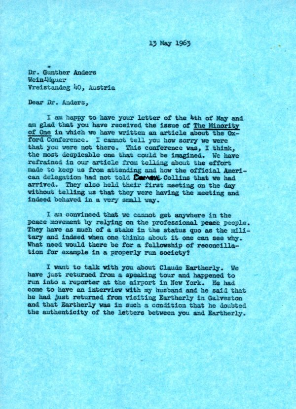 Letter from Ava Helen Pauling to Günther Anders. Page 1. May 13, 1963