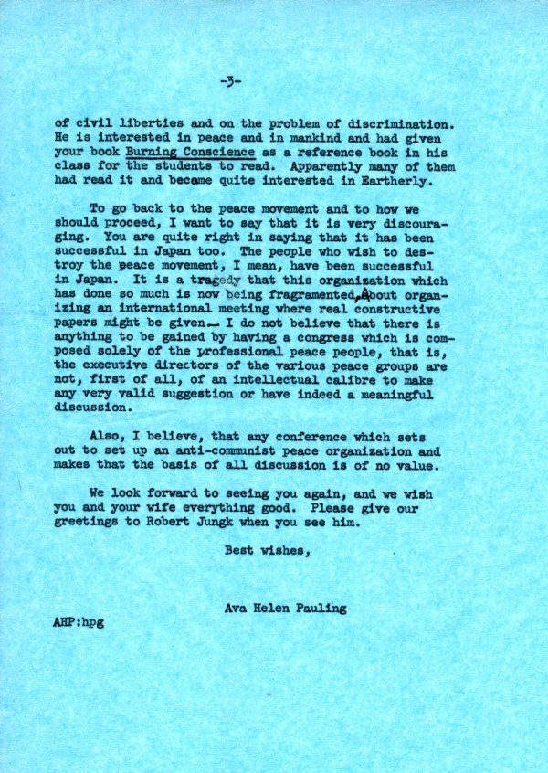 Letter from Ava Helen Pauling to Günther Anders. Page 3. May 13, 1963