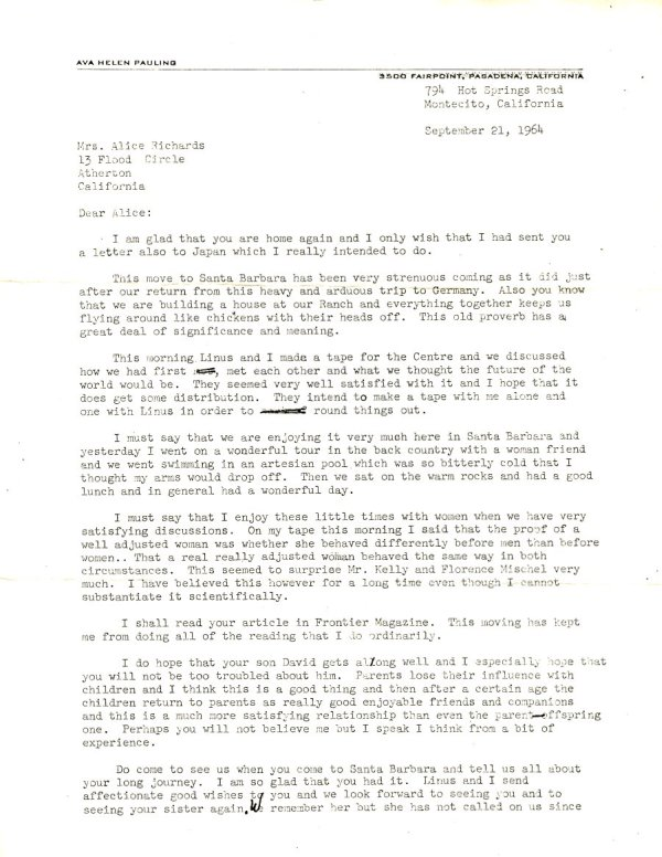 Letter from Ava Helen Pauling to Alice Richards.Page 1. September 21, 1964