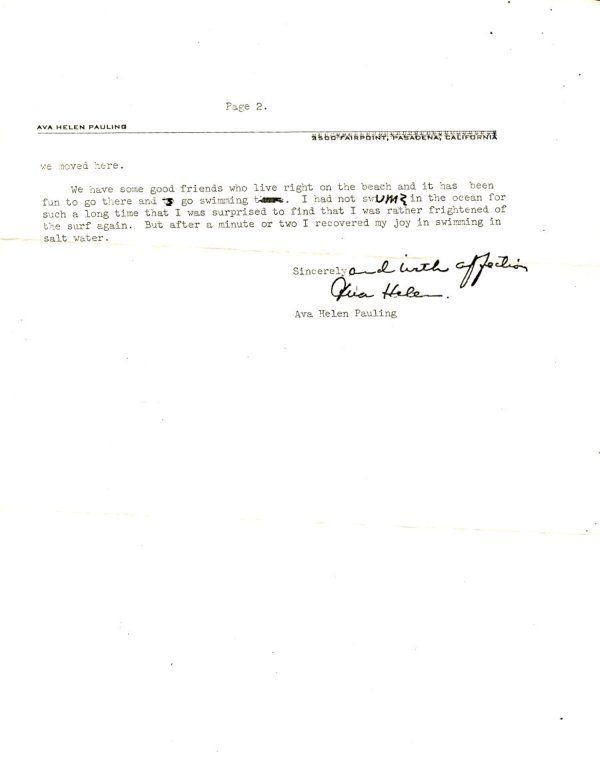 Letter from Ava Helen Pauling to Alice Richards.Page 2. September 21, 1964