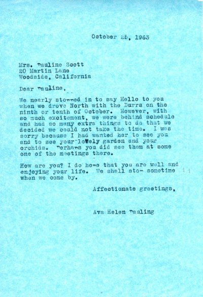 Letter from Ava Helen Pauling to Pauline Scott. Page 1. October 26, 1963