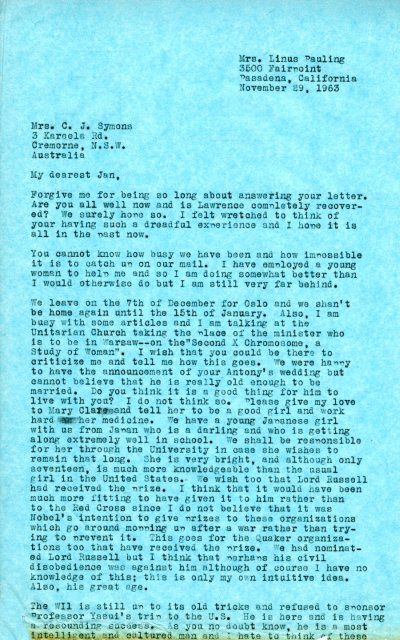 Letter from Ava Helen Pauling to Jan Symons. Page 1. November 29, 1963