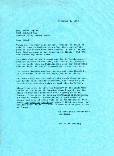 Letter from Ava Helen Pauling to Ethel Taylor. Page 1. November 6, 1963