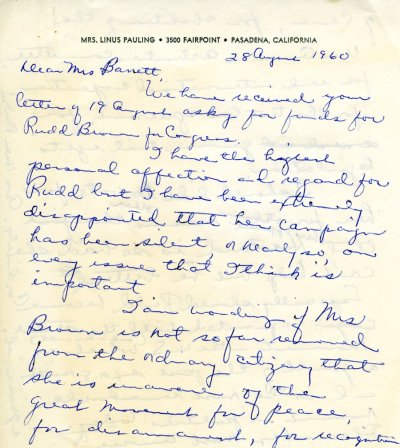 Letter from Ava Helen Pauling to Lenore N. Barrett. Page 1. August 28, 1960