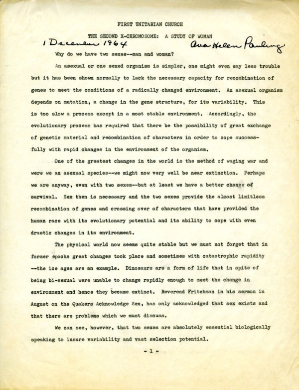 """""""The Second X-Chromosome: A Study of Woman.""""Page 1. December 1, 1964"""