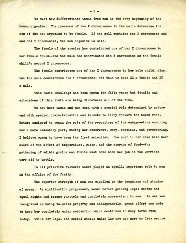 """""""The Second X-Chromosome: A Study of Woman.""""Page 2. December 1, 1964"""