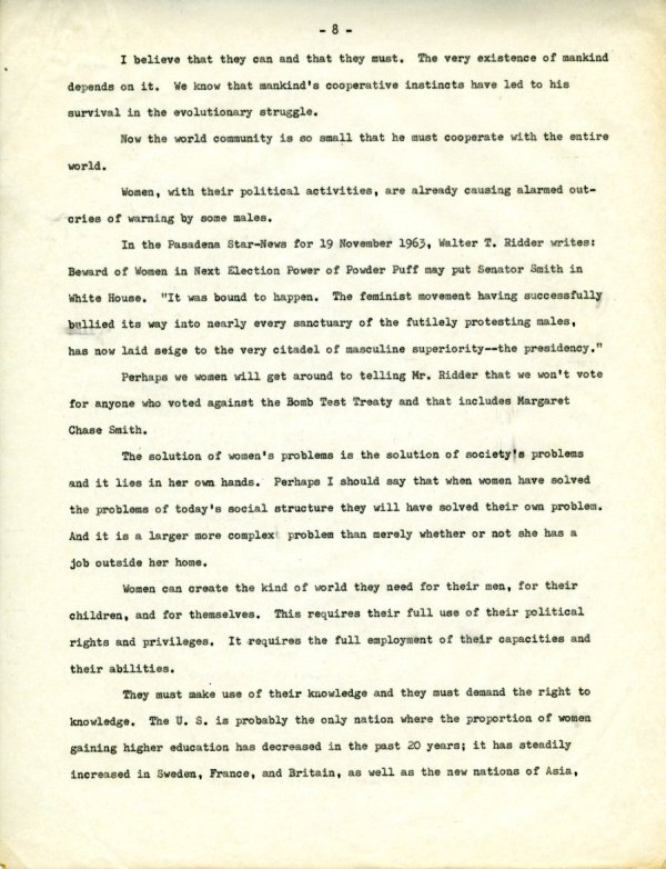 """""""The Second X-Chromosome: A Study of Woman.""""Page 8. December 1, 1964"""