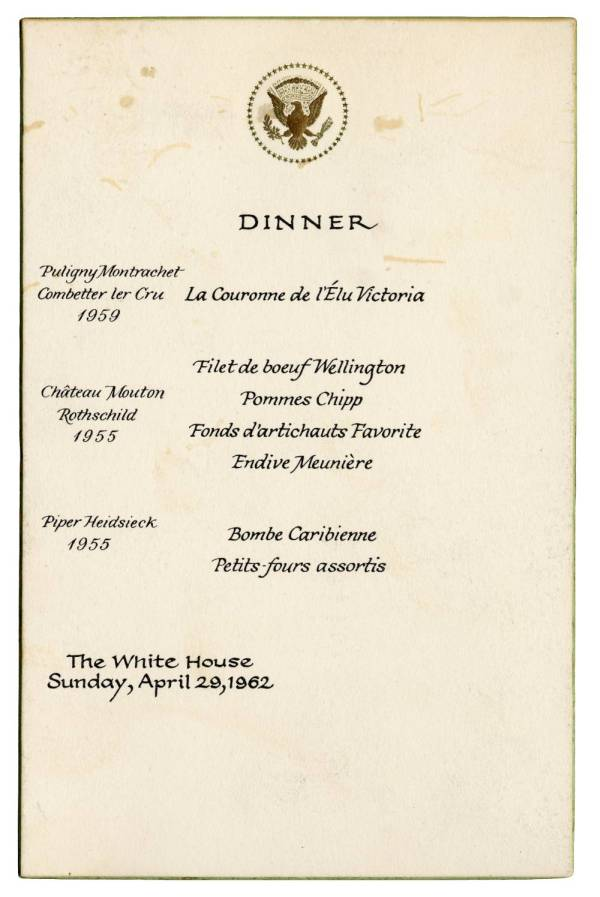 White House Dinner Menu.