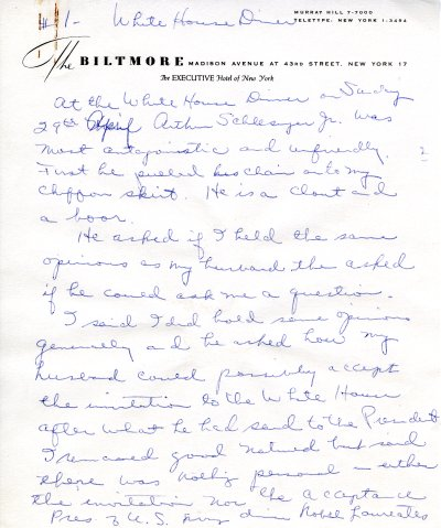 Journal notes by Ava Helen Pauling recounting her trip to the White House. Page 1. April 29, 1962