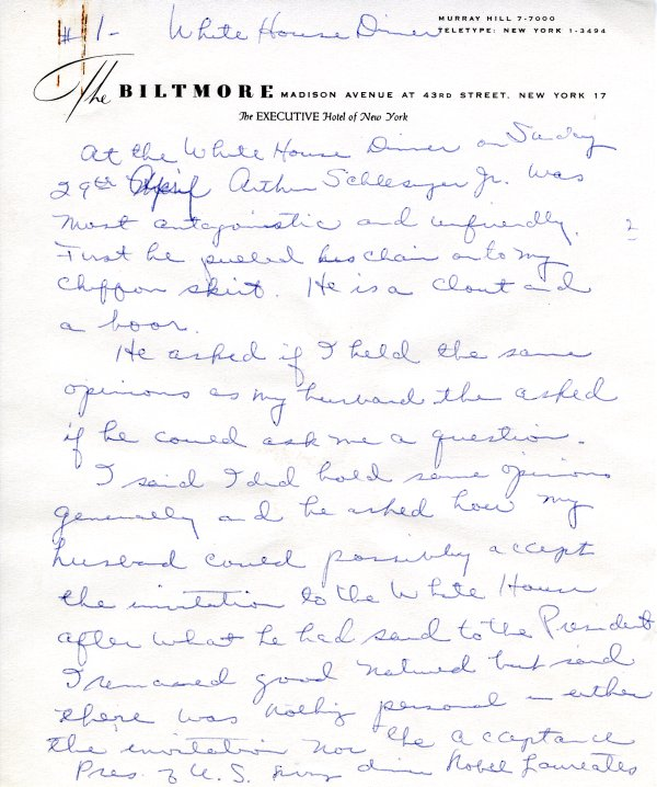 Journal notes by Ava Helen Pauling recounting her trip to the White House.Page 1. April 29, 1962