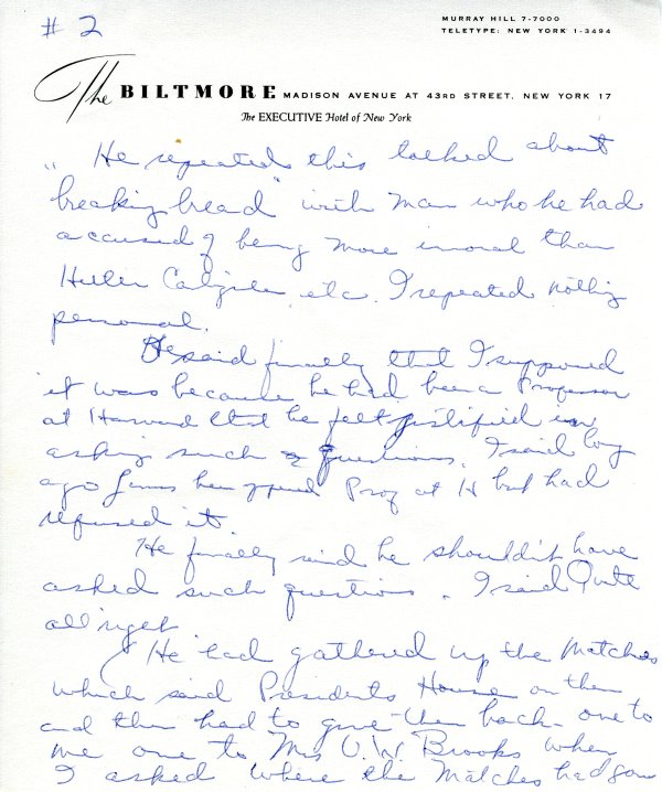 Journal notes by Ava Helen Pauling recounting her trip to the White House.Page 2. April 29, 1962