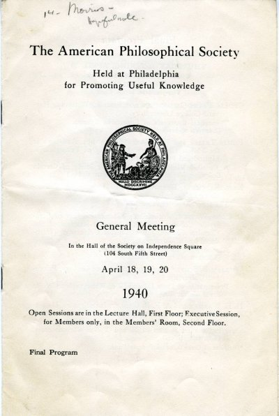 American Philosophical Society Meeting Program. Page 1. April 1940
