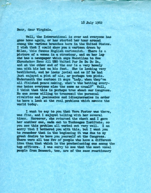 Letter from Ava Helen Pauling to Virginia Durr. Page 1. July 18, 1962