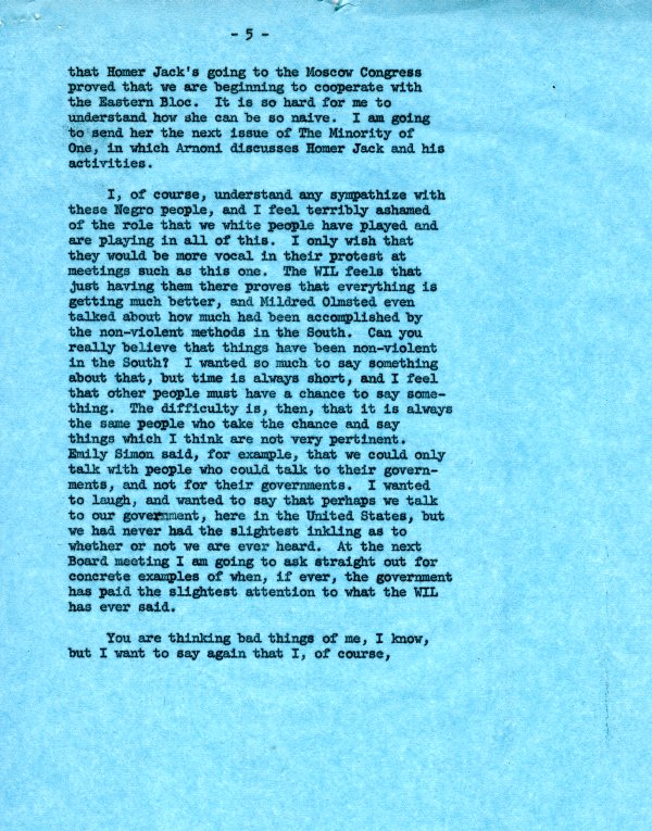 Letter from Ava Helen Pauling to Virginia Durr. Page 5. July 18, 1962