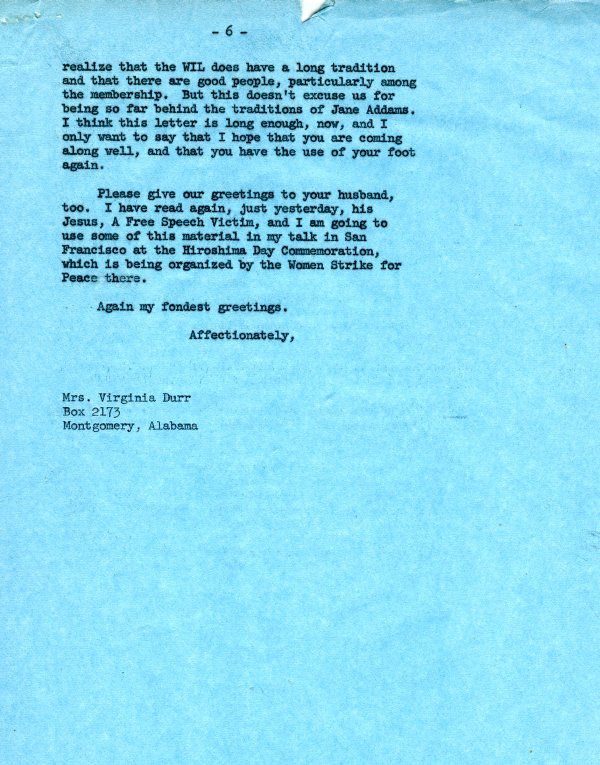 Letter from Ava Helen Pauling to Virginia Durr. Page 6. July 18, 1962