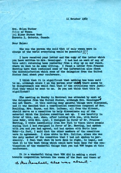 Letter from Ava Helen Pauling to Helen Tucker. Page 1. October 11, 1962