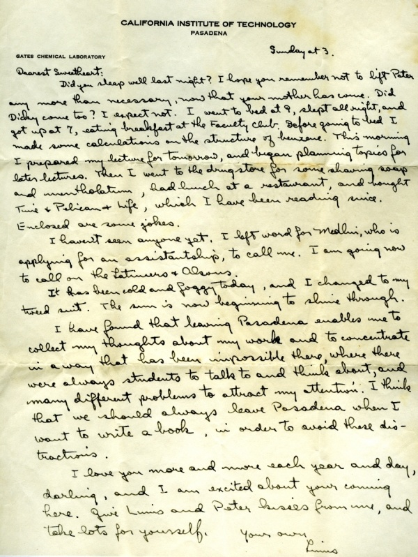 Letter from Linus Pauling to Ava Helen Pauling.Page 1. March 22, 1931