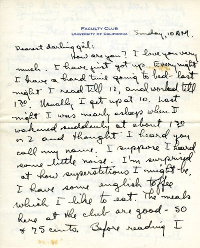Letter from Linus Pauling to Ava Helen Pauling. Page 1. April 5, 1931