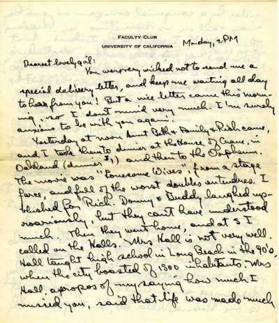 Letter from Linus Pauling to Ava Helen Pauling.Page 1. April 13, 1931