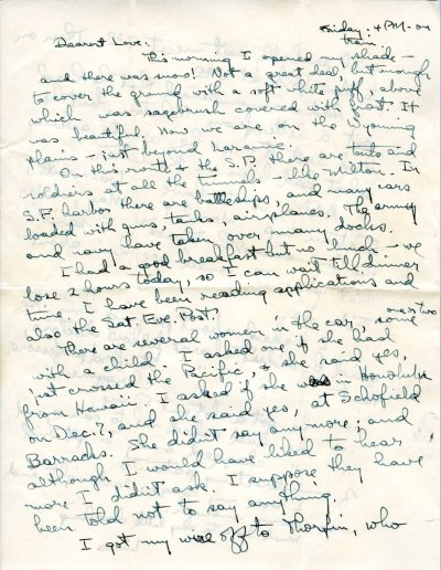 Letter from Linus Pauling to Ava Helen Pauling.Page 1. January 30, 1942