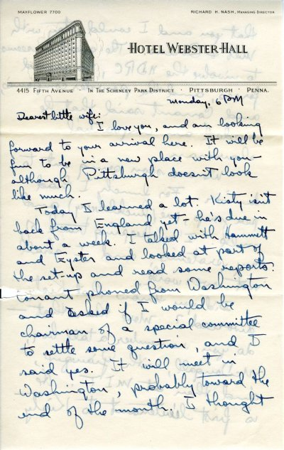 Letter from Linus Pauling to Ava Helen Pauling. Page 1. August 10, 1942
