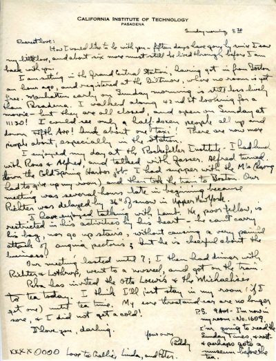 Letter from Linus Pauling to Ava Helen Pauling. Page 1. February 4, 1945