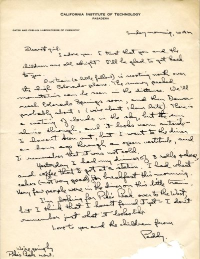 Letter from Linus Pauling to Ava Helen Pauling. Page 1. March 18, 1945