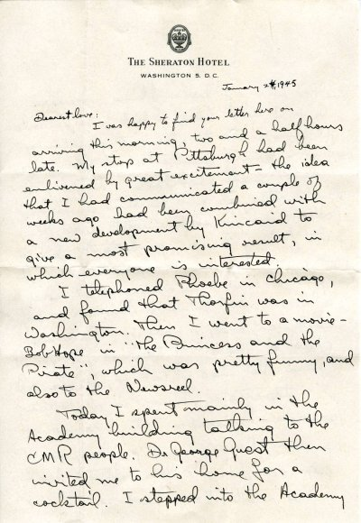 Letter from Linus Pauling to Ava Helen Pauling. Page 1. January 24, 1945